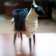"Paper Mâché Sheep w/ Fabric Trinket Basket - 7"" High"