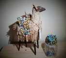 Paper mache and twine llama with saddle trinket holder